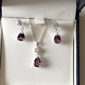 Jewelry - Amethyst & Cubic Zirconia Necklace & Earrings Set